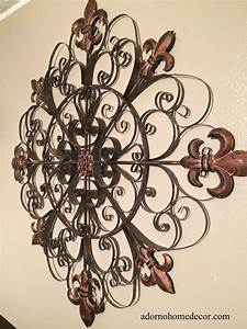 Large unique fleur de lis round metal wall rustic scroll for Antique wall decor