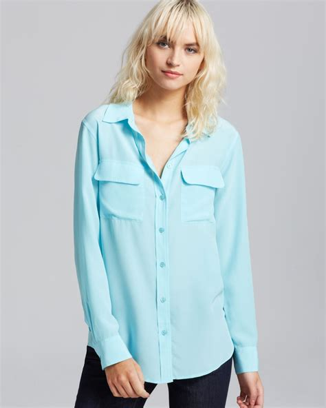 teal blouses equipment blouse slim signature in blue light teal lyst