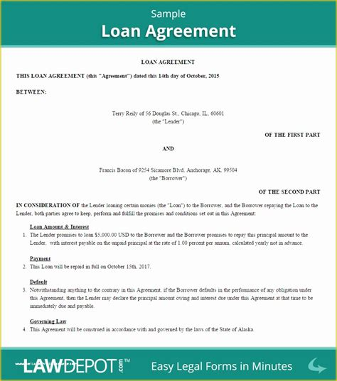 Free Template for Loan Agreement Between Friends Of ...