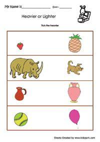 heavier  lighter worksheets activity sheets  kids