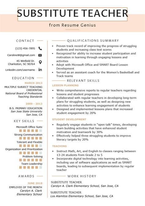 substitute teacher resume sles writing guide resume