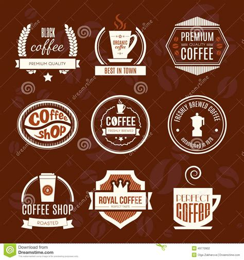 coffee shop logo collection stock illustration image