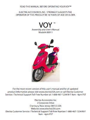 electra voy  phantom iv electric scooter homepage manuals