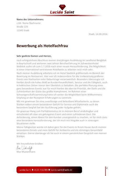 layout fuer die bewerbung als hotelfachfrau jobguru