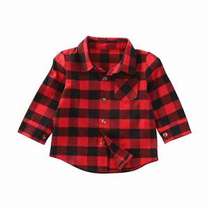 baby girl cotton plaid shirt kids red plaid blouse baby With chemise a carreaux enfant