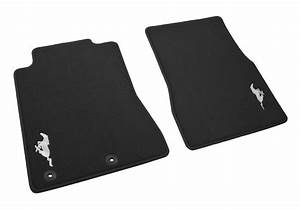 2011-2012 Genuine Ford Mustang Charcoal Black Front Floor Mats w/ Silver Running Horse - Floor ...