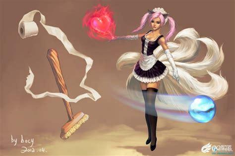 french maid ahri league  legends fan art league