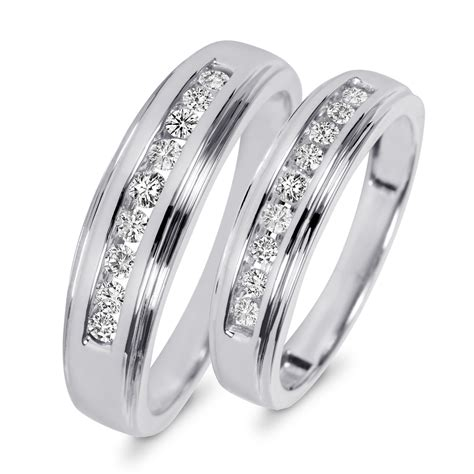 wedding ring sets his and hers 3 8 carat t w his and hers wedding band set 10k white gold my trio rings wb501w10k