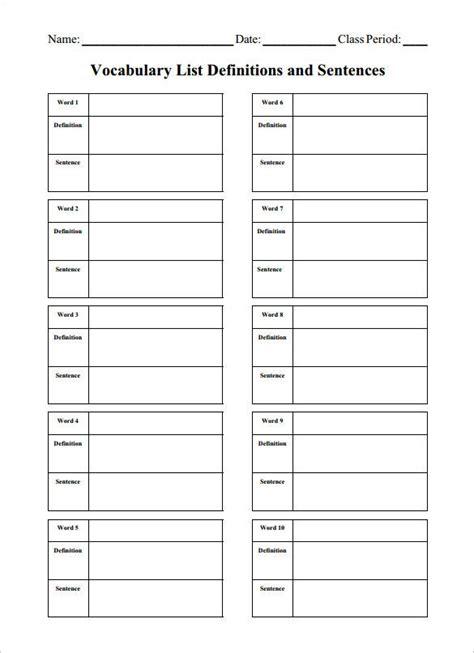 blank vocabulary worksheet templates word