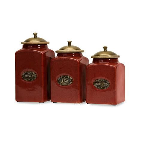 country kitchen canister set french country s 3 canister set ceramic kitchen tuscan red new