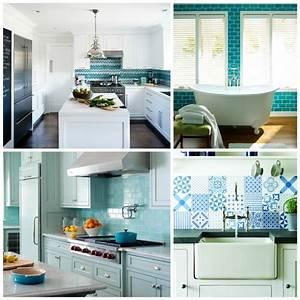 carrelage bleu idees deco pour cuisine et salle de bain With deco cuisine pour salle de bain