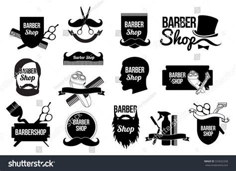 mens haircut logobarber shop logo design stock vector