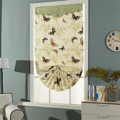 Beige Butterfly Decorative Natural Roman Shade Curtains