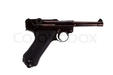 api cuisine german luger war 2 pistol right side stock photo