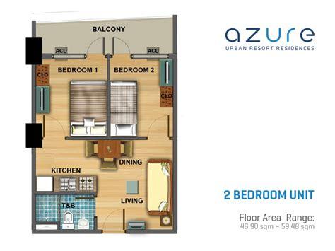 One Bedroom Unit Layout by Azure Resort Residences Floor Plans Century