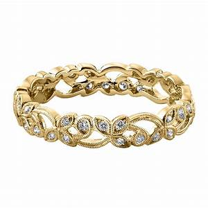 womens floral 18ct yellow gold 020ct diamond wedding ring With womens 18ct gold wedding rings