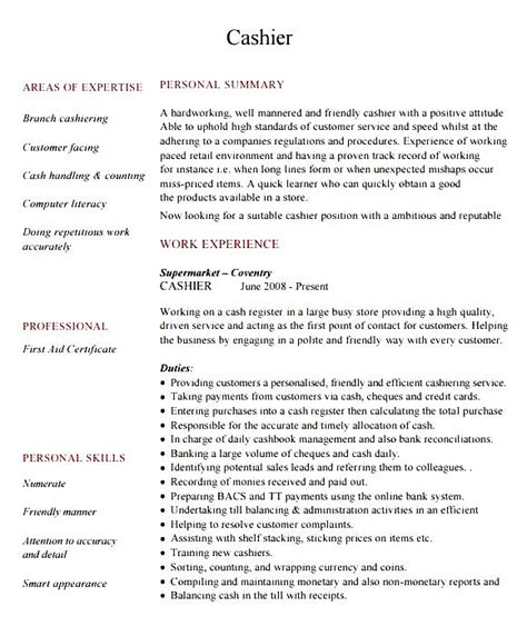 Cashier Resume Sample Word  Free Samples , Examples