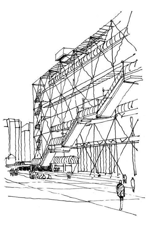 centre pompidou croquis arquitectura dibujos de
