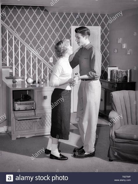 enamoured teenage couple wearing bobby socks