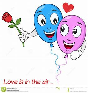 Balloons Lovers In Love Flying In The Air Stock Vector ...