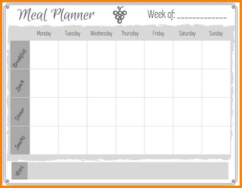 free weekly meal planner template 10 week meal planner attorney letterheads