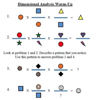 Dimensional Analysis Warmup By Lizzy Single  Teachers Pay Teachers