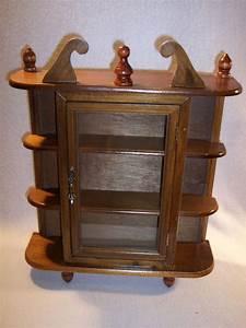 Vintage, Wood, Curio, Cabinet, Table, Top, Or, Wall, Hanging, Display, Shelf, Figurine, Box