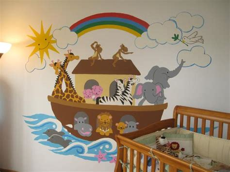 noahs ark large paint  number wall mural elephants