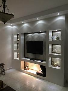 parete, attrezzata, in, cartongesso, per, un, soggiorno, moderno