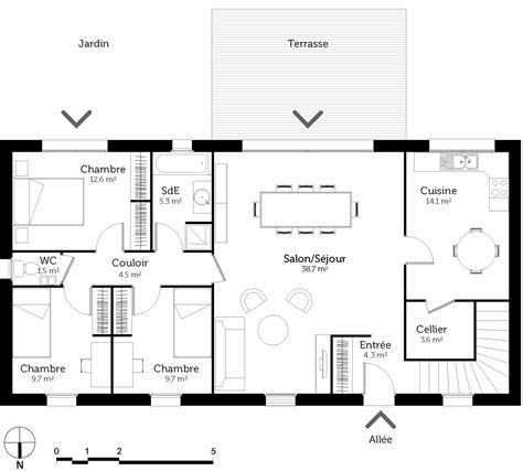 plan de maison de plain pied avec 3 chambres plan maison de plain pied avec sous sol ooreka