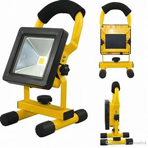 Emergency battery flood lights : Battery powered portable rechargeable led floodlight w