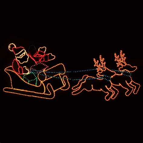 rope lighted christmas deer outdoor decoration waving santa with sleigh and reindeer lawn decoration