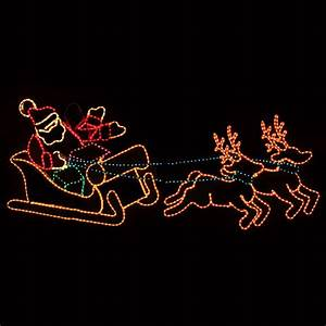 Christmas Light Clips For Reindeer Outdoor Decoration Waving Santa With Sleigh And Reindeer