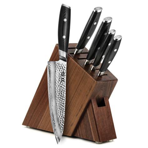 yaxell tsuchimon walnut slim knife block set  piece cutlery