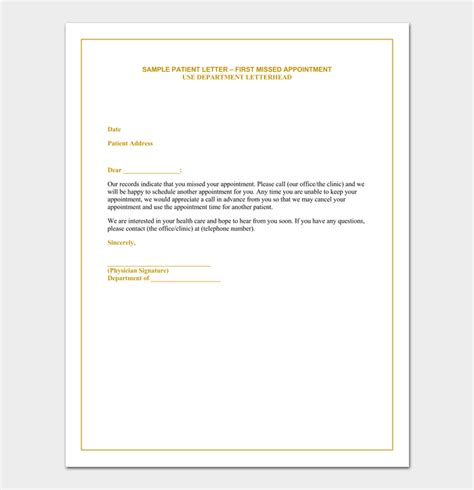 missed appointment letter  sample letters