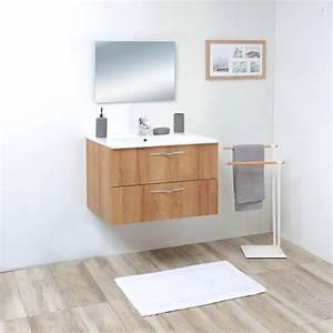 Meuble Salle De Bain Moderne : meuble salle de bain bois 80 cm ~ Nature-et-papiers.com Idées de Décoration