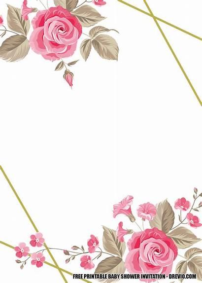 Shower Floral Modern Printable Template Invitation Invitations