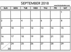 Blank September 2018 Calendar Printable Templates