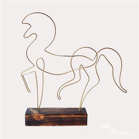 le de bureau laiton sculpture cheval fil de fer style 30 s hello vintage