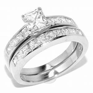 Princess cut diamond wedding ring sets princess cut for Princess cut engagement rings with wedding band