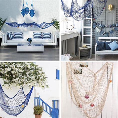Create the perfect seaside affair with this rustic, authentic fishing net. Fish Net Wall Hanging 3D Nautical Ocean Theme Fishing Netting Luau Ornaments For Party Wall ...
