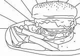 Burger Colouring Chips Sheet Printable Sheets Mental Health Pdf sketch template