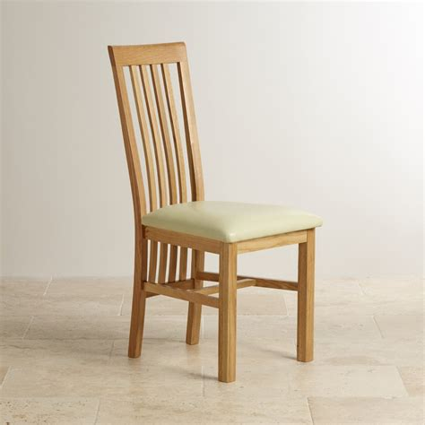 solid oak high slat cream leather dining chair