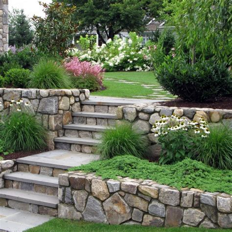 retaining wall gardens natural stone retaining walls and steps to fight erosion and to add charm to the landscape