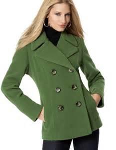 Green Wool Pea Coat Women