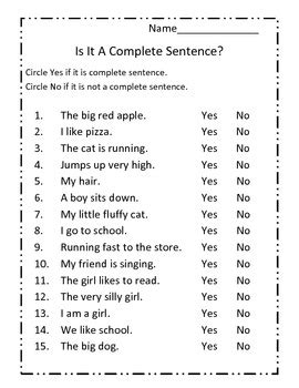 complete sentences worksheet by the honey pot teachers