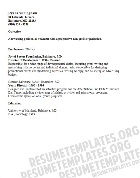 15332 volunteer resume template volunteer resume sle resume template