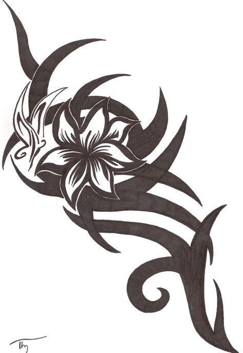 Flower And Tribal Tattoo Designs
