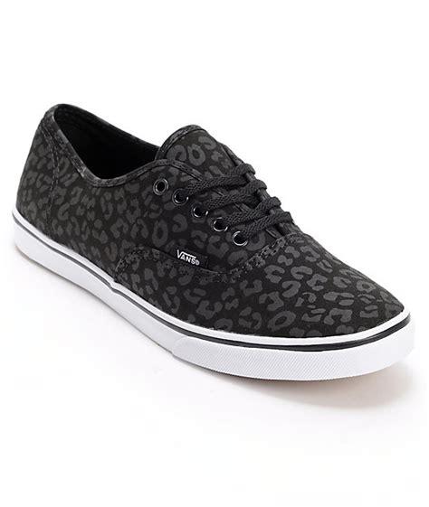 vans authentic lo pro black leopard print shoes womens
