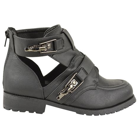 low cut biker boots ladies womens flat low heel strappy biker chelsea ankle